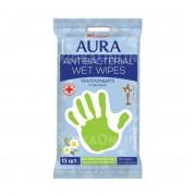Салфетки влажные Aura антибактериальные  15 шт