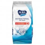 Салфетки влажные Aura антибактериальные, 72 шт.